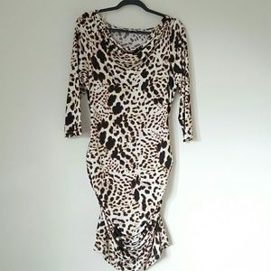 Jennifer Lopez curvy ruched animal print dress
